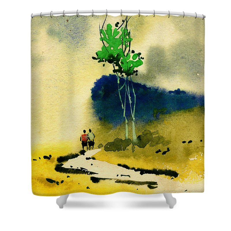 Landscape Shower Curtain featuring the painting Buddies by Anil Nene