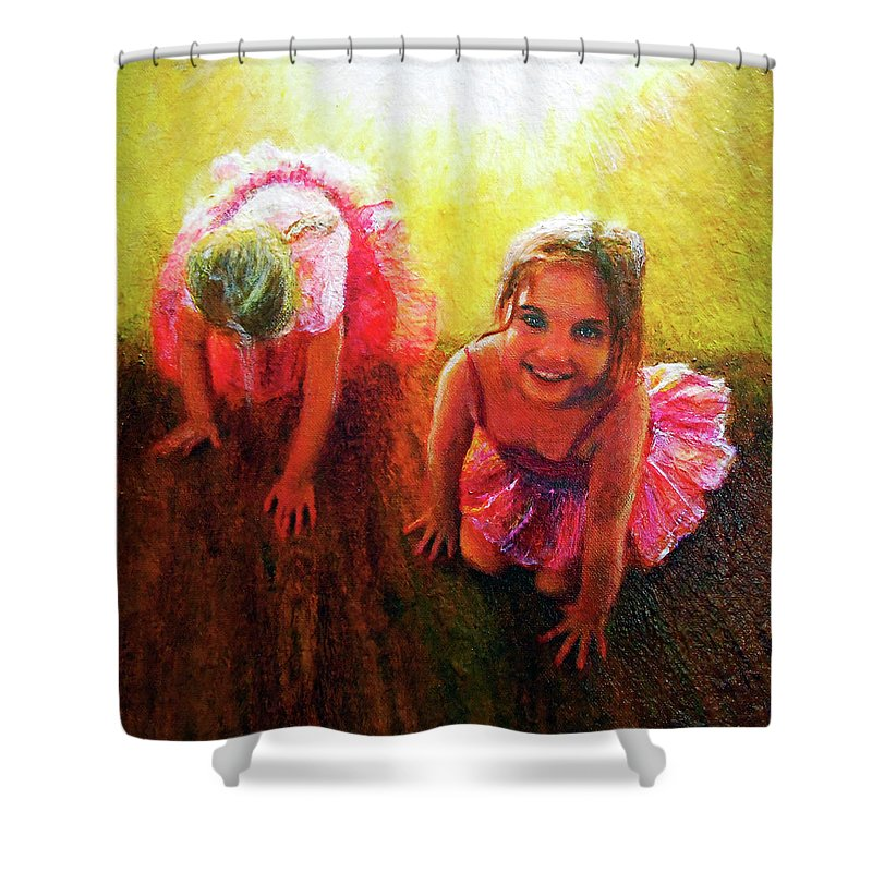 Ballerina Shower Curtain featuring the painting Budding Ballerinas by Michael Durst