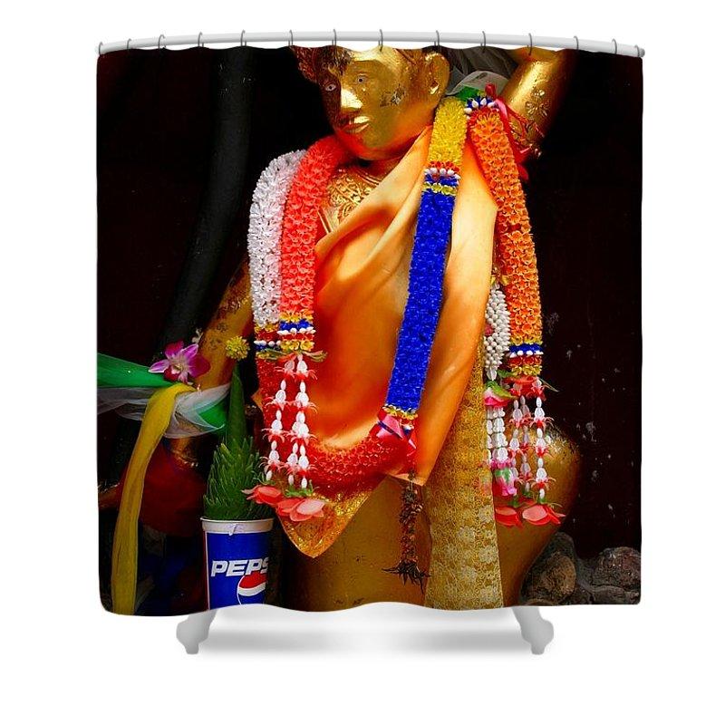 Buddism Shower Curtain featuring the photograph Buddism And Pepsi Shrine by Minaz Jantz