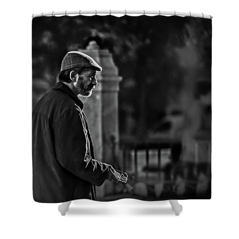 Adult Shower Curtain featuring the photograph Buddy Can You Spare A Dime? by Peter Hayward Photographer