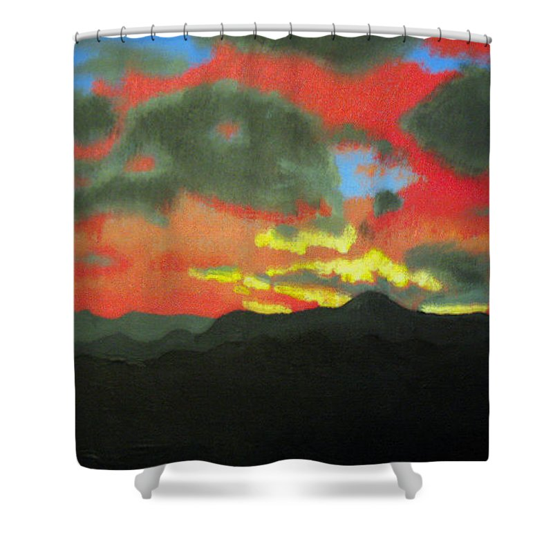 Sunset Shower Curtain featuring the painting Buenas Noches by Marco Morales