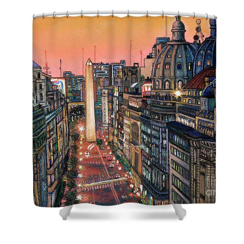 Buenos Aires Shower Curtain featuring the pastel Buenos Aires Twilight by Bernardo Galmarini