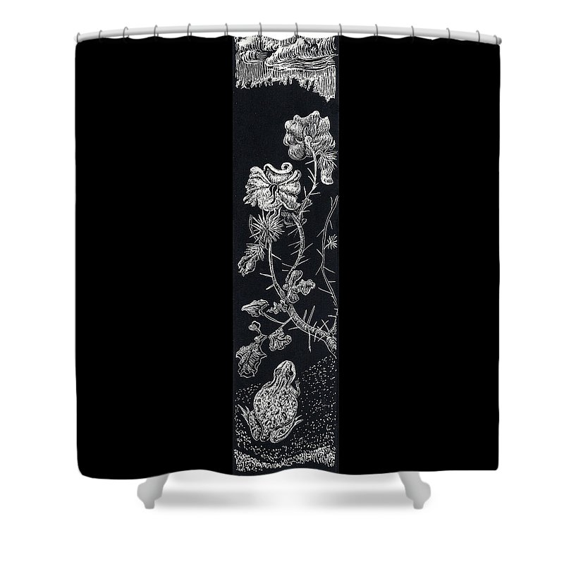 Floral Shower Curtain featuring the drawing Buffalo Burr And Toad by Dawn Senior-Trask