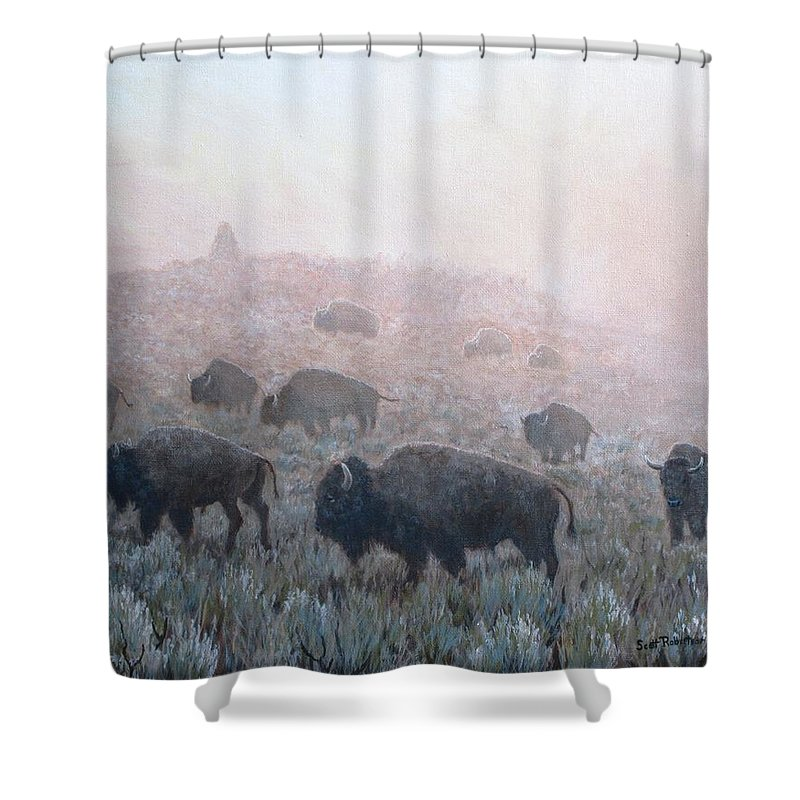 Western Art Shower Curtain featuring the painting Buffalo In Yellowstone Fog by Scott Robertson