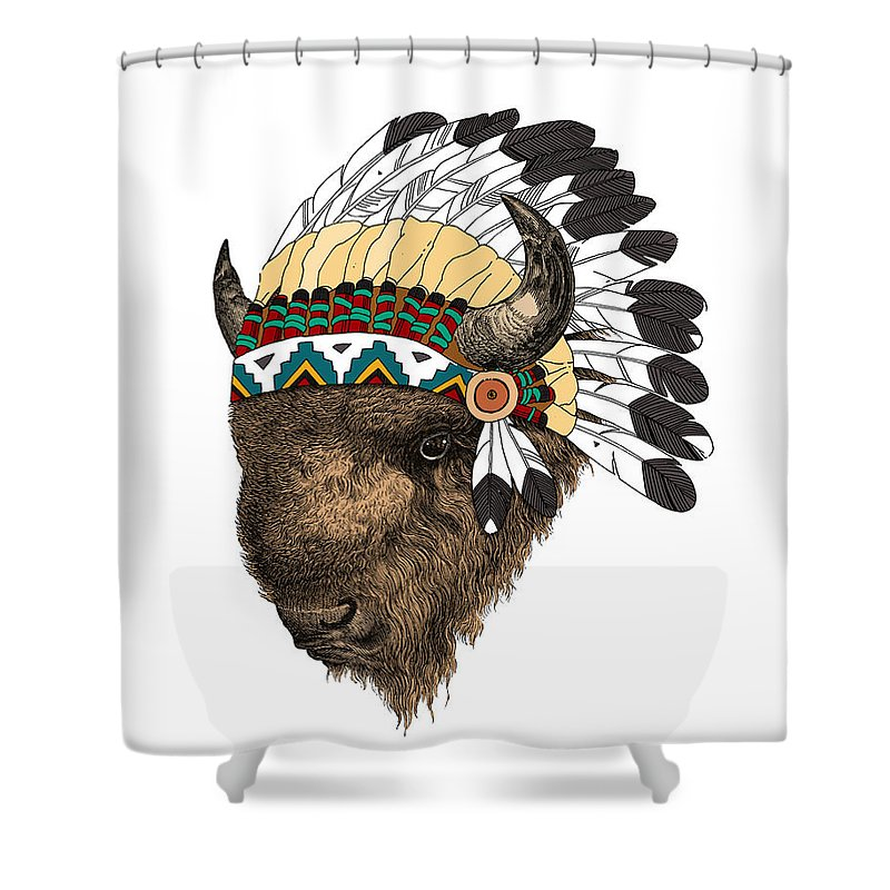 Buffalo Shower Curtain Featuring The Digital Art With Indian Headdress In Color By Madame Memento