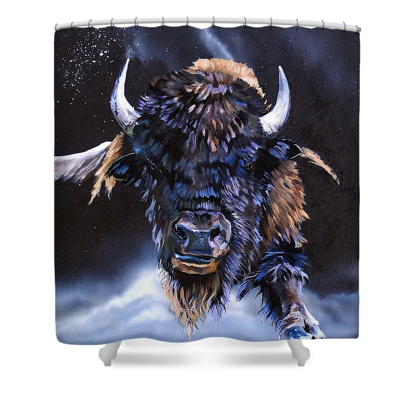 Buffalo Shower Curtain featuring the painting Buffalo Medicine by J W Baker