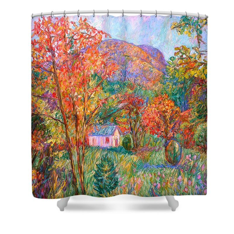 Landscape Shower Curtain featuring the painting Buffalo Mountain In Fall by Kendall Kessler