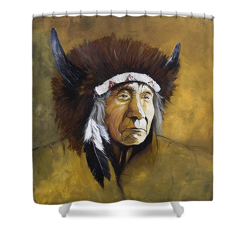 Shaman Shower Curtain featuring the painting Buffalo Shaman by J W Baker