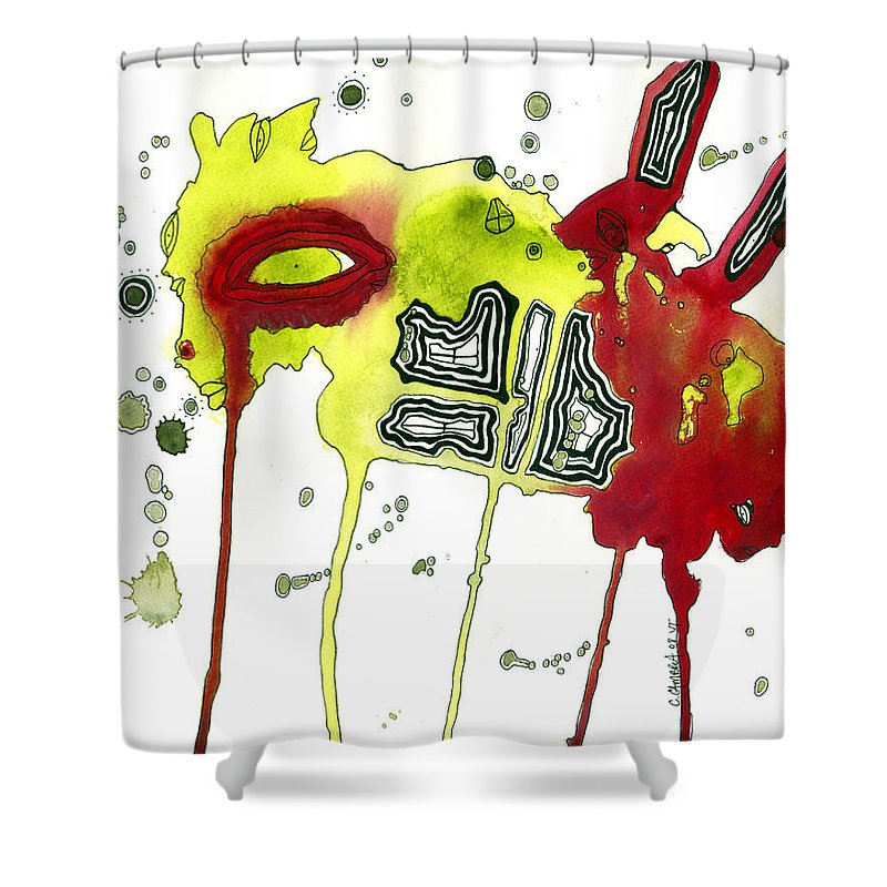 Surreal Shower Curtain featuring the painting Bug Friend by Cristine Cambrea