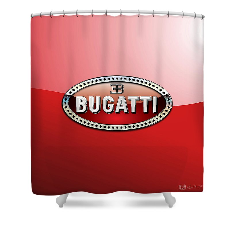 �wheels Of Fortune� Collection By Serge Averbukh Shower Curtain featuring the photograph Bugatti - 3 D Badge on Red by Serge Averbukh