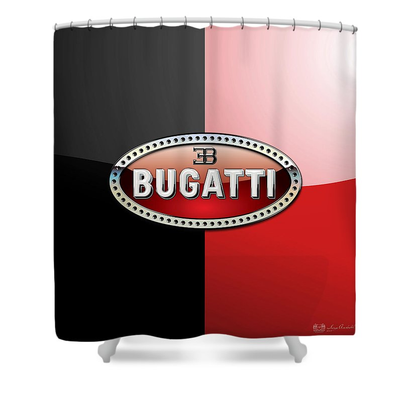 Wheels Of Fortune By Serge Averbukh Shower Curtain featuring the photograph Bugatti 3 D Badge on Red and Black by Serge Averbukh