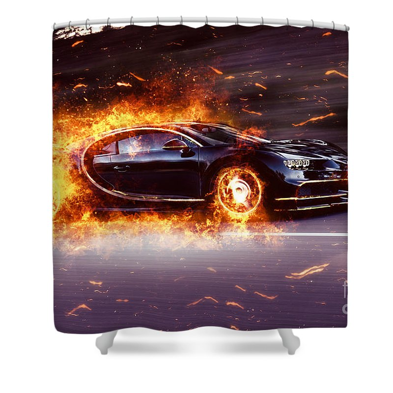 Beau Bugatti Shower Curtain Featuring The Photograph Bugatti Chiron Fire By  Vadim Pavlov