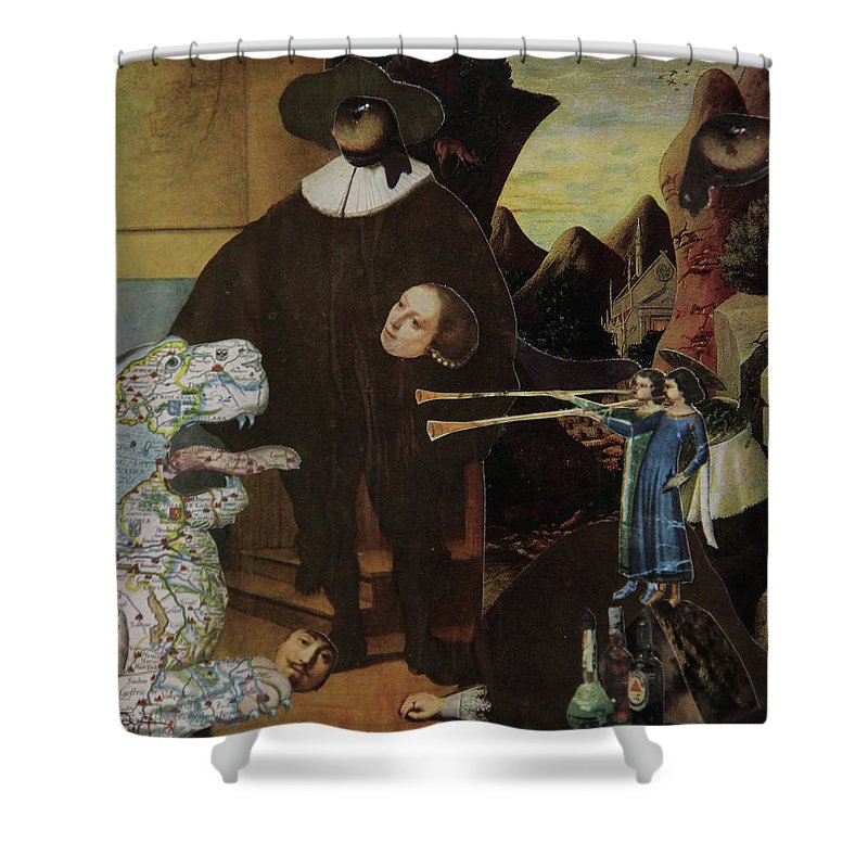 Collage Shower Curtain featuring the mixed media Bugle's For Tiger by Joseph Demaree