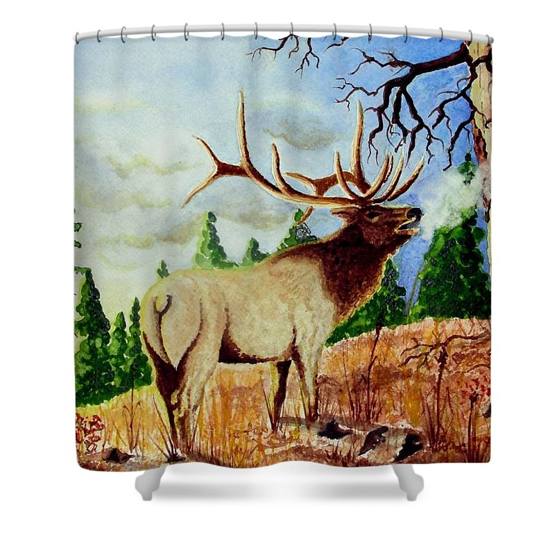 Antlers Shower Curtain featuring the painting Bugling Elk by Jimmy Smith