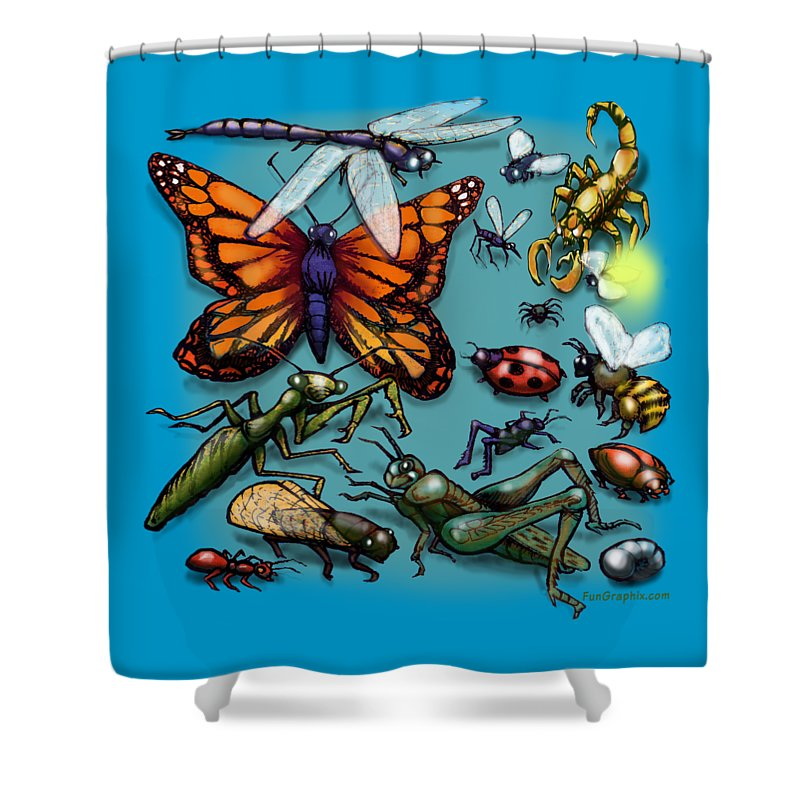 Bug Shower Curtain featuring the painting Bugs by Kevin Middleton