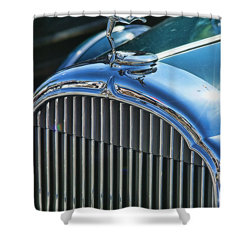 Cars Shower Curtain featuring the photograph Buick Grill And Hood Ornament by Randy Harris