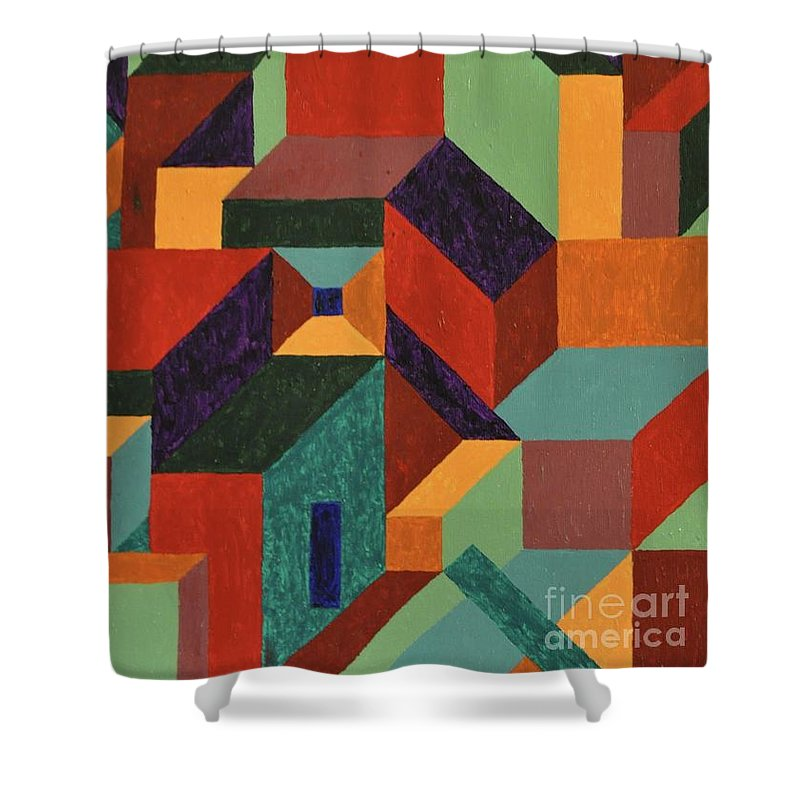 Angles Shower Curtain featuring the painting Building Blocks by Colleen Gerlach