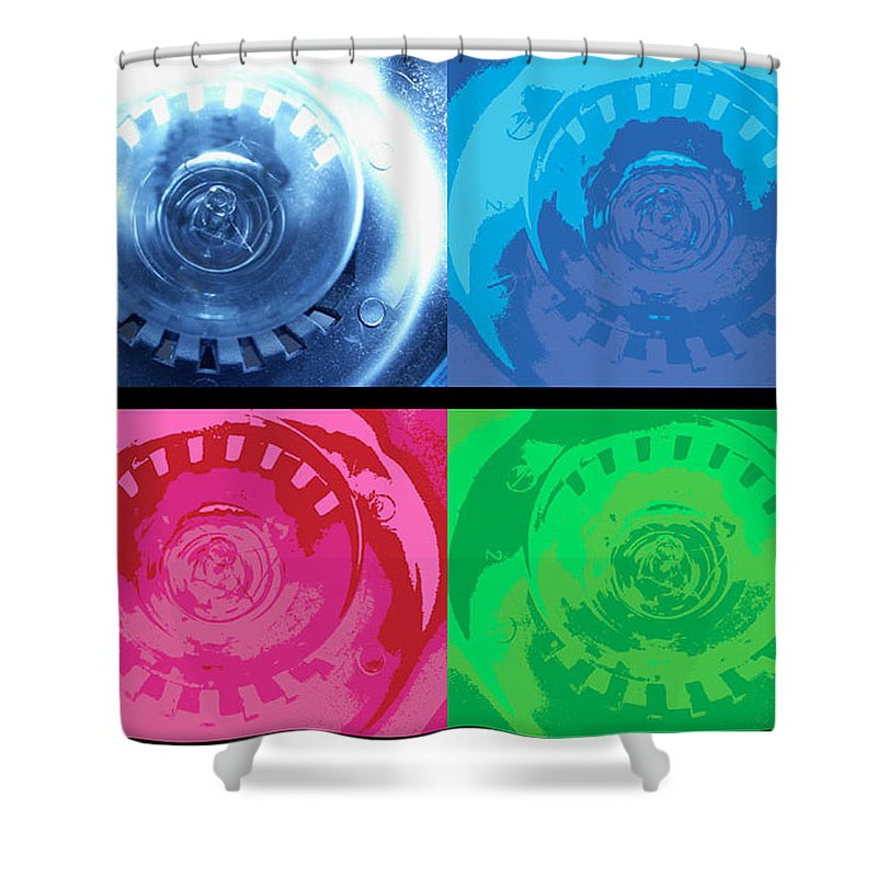 Abstract Shower Curtain featuring the photograph Bulbs In The Style Of Warhol by Scott Wyatt