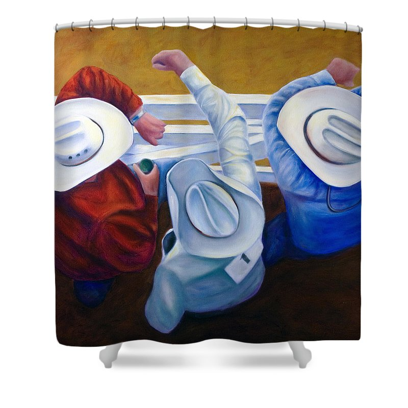 Western Shower Curtain featuring the painting Bull Chute by Shannon Grissom