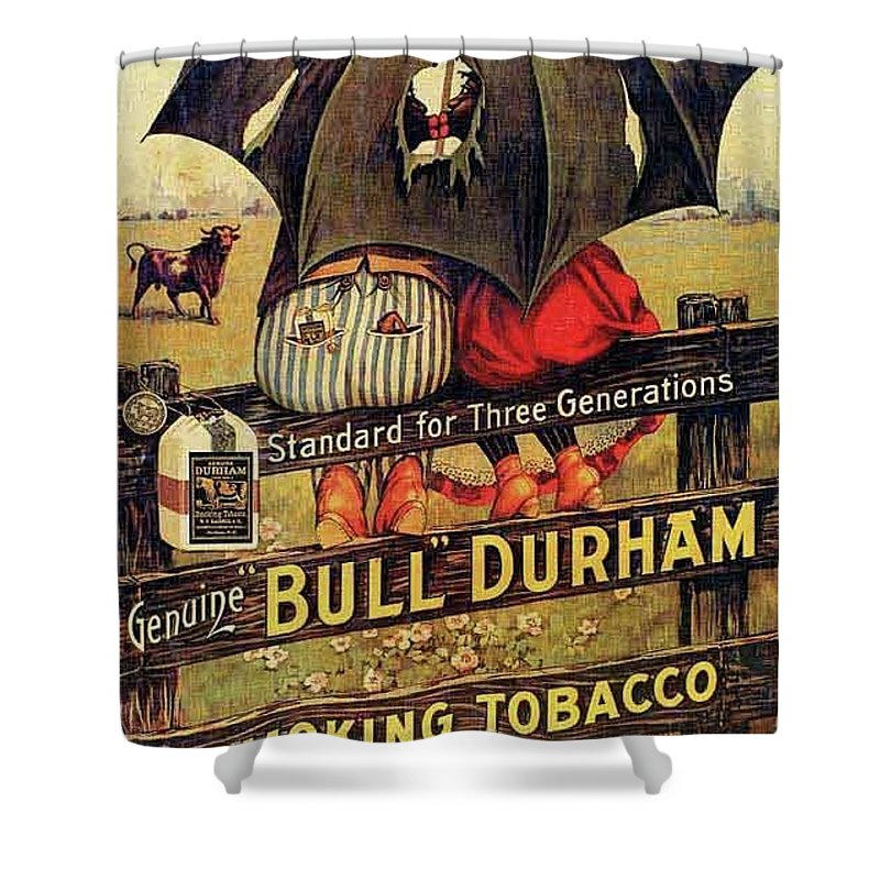 Black Americana Shower Curtain featuring the digital art Bull Durham Smoking Tobacco by ReInVintaged