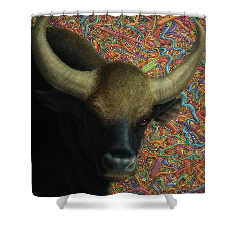 Bull Shower Curtain featuring the painting Bull In A Plastic Shop by James W Johnson
