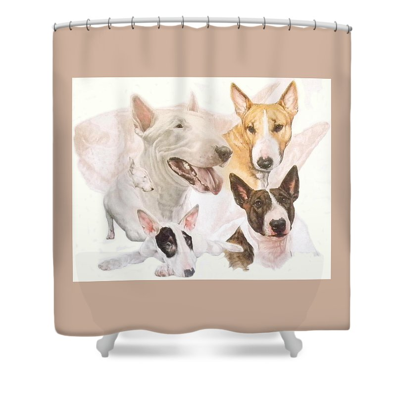 Purebred Shower Curtain featuring the mixed media Bull Terrier W/ghost by Barbara Keith
