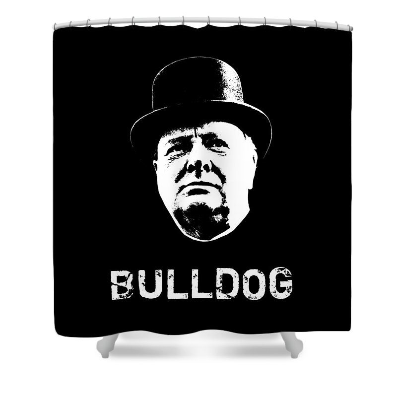 Winston Churchill Shower Curtain featuring the mixed media Bulldog - Winston Churchill by War Is Hell Store