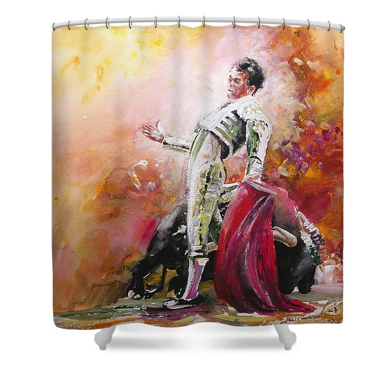 Animals Shower Curtain featuring the painting Bullfight 24 by Miki De Goodaboom