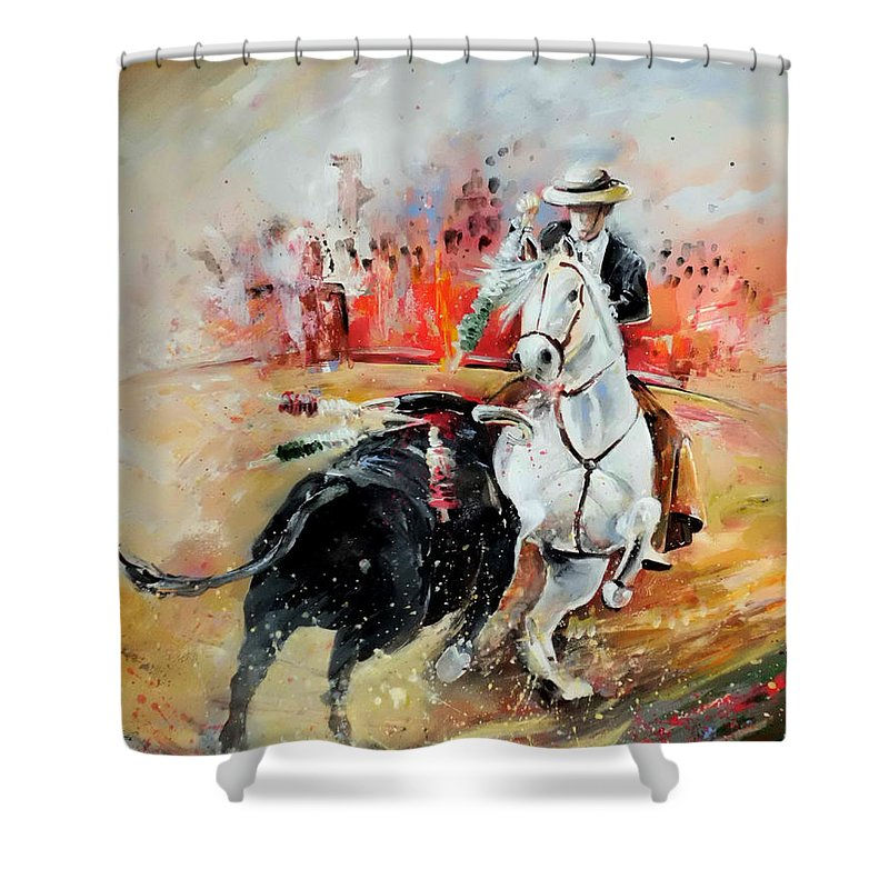 Toros Shower Curtain featuring the painting Bullfight 3 by Miki De Goodaboom