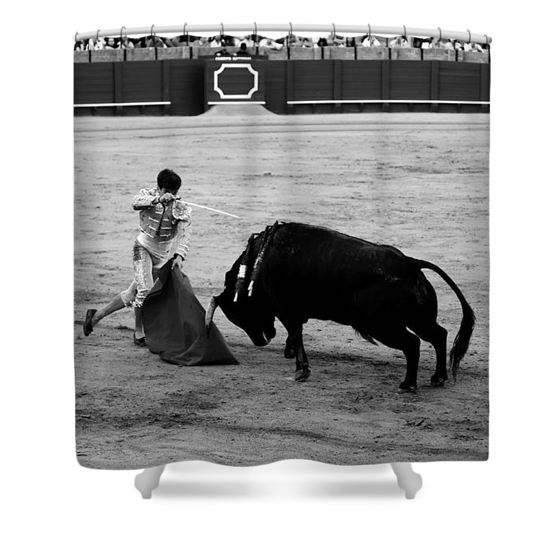 Bullfighting Shower Curtain featuring the photograph Bullfighting 21b by Andrew Fare