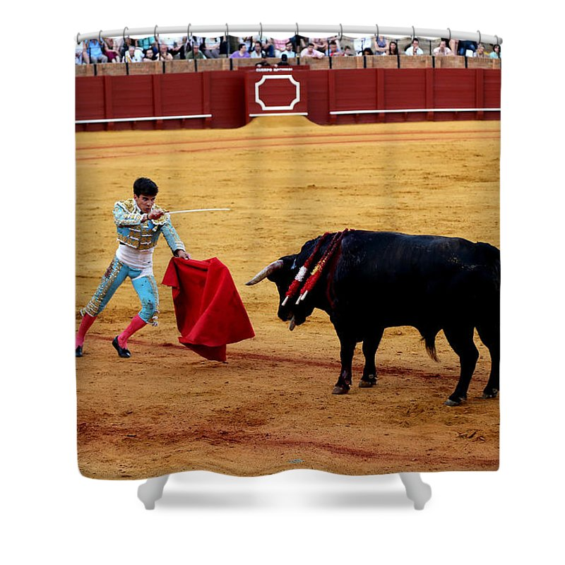 Bullfighting Shower Curtain featuring the photograph Bullfighting 22 by Andrew Fare