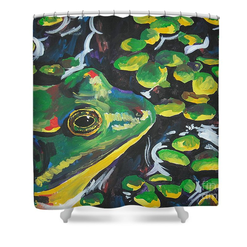 Bullfrog Shower Curtain featuring the painting Bullfrog by Caroline Davis