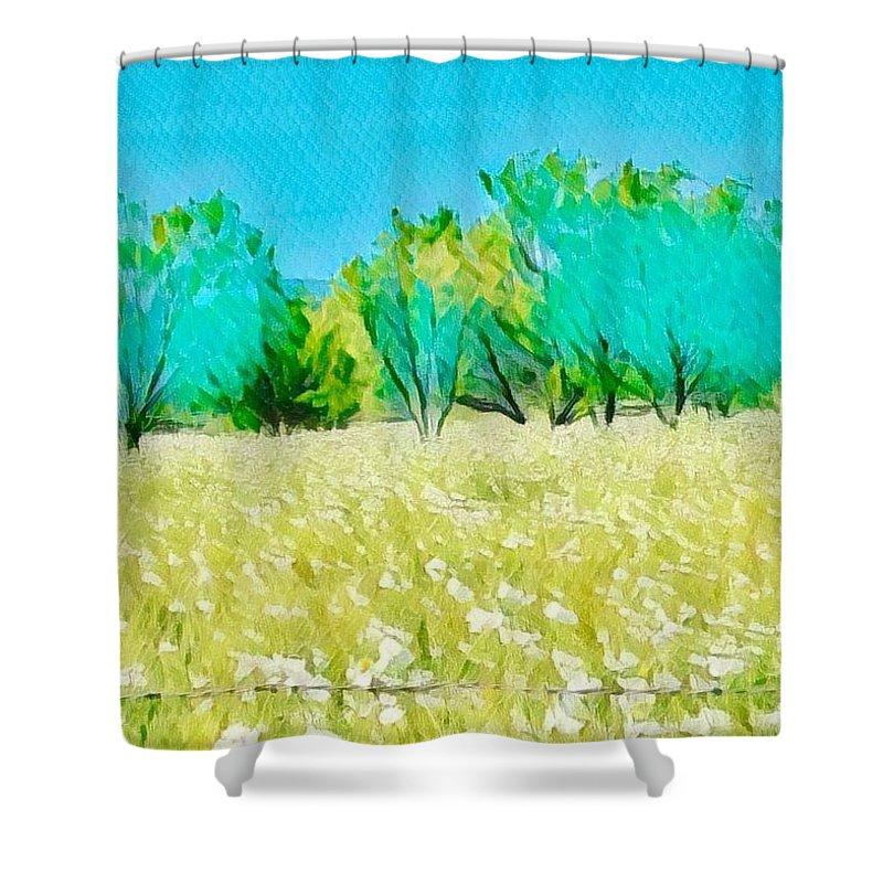 Willow City Loop Shower Curtain featuring the digital art Texas Bull Nettle by Wendy Biro-Pollard
