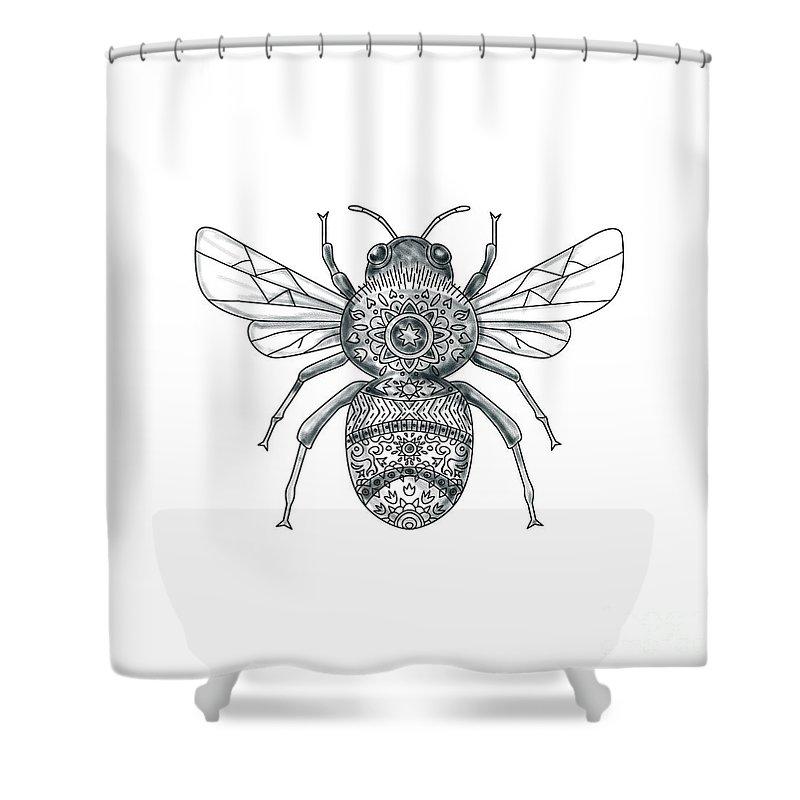 bceb2d383df6f Tattoo Shower Curtain featuring the digital art Bumble Bee Mandala Tattoo  by Aloysius Patrimonio