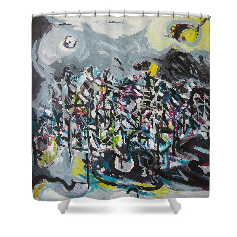 Abstract Paintings Shower Curtain featuring the painting Bummer Flat11 by Seon-Jeong Kim