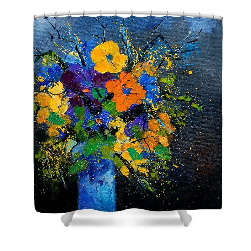 Poppies Shower Curtain featuring the painting Bunch 1007 by Pol Ledent