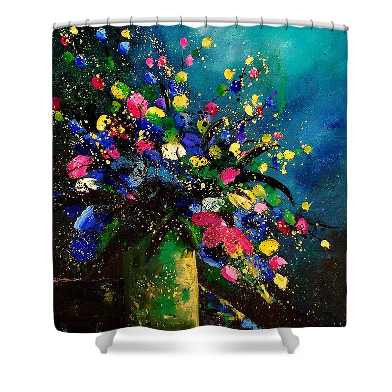 Poppies Shower Curtain featuring the painting Bunch 45 by Pol Ledent