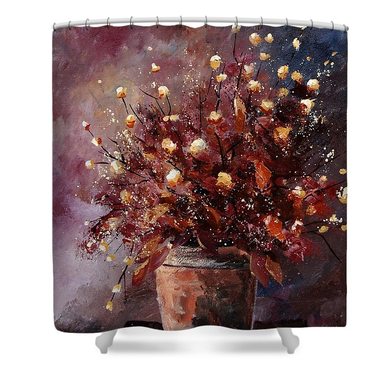 Poppies Shower Curtain featuring the painting Bunch 56 by Pol Ledent