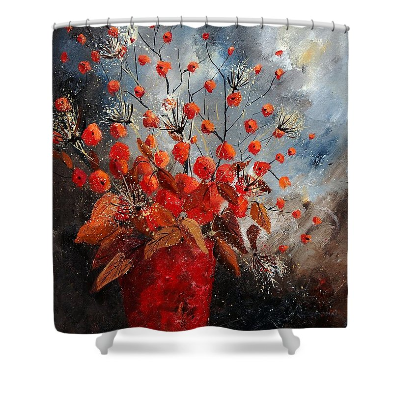 Flowers Shower Curtain featuring the painting Bunch 560608 by Pol Ledent