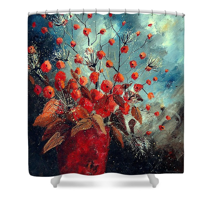 Flowers Shower Curtain featuring the painting Bunch 562139854 by Pol Ledent
