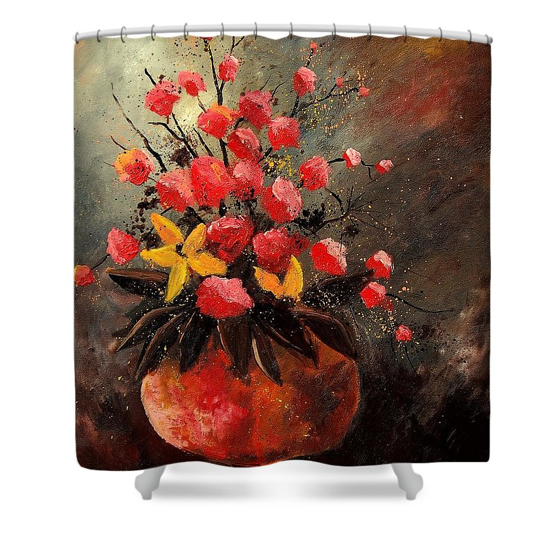 Flowers Shower Curtain featuring the painting Bunch 569060 by Pol Ledent