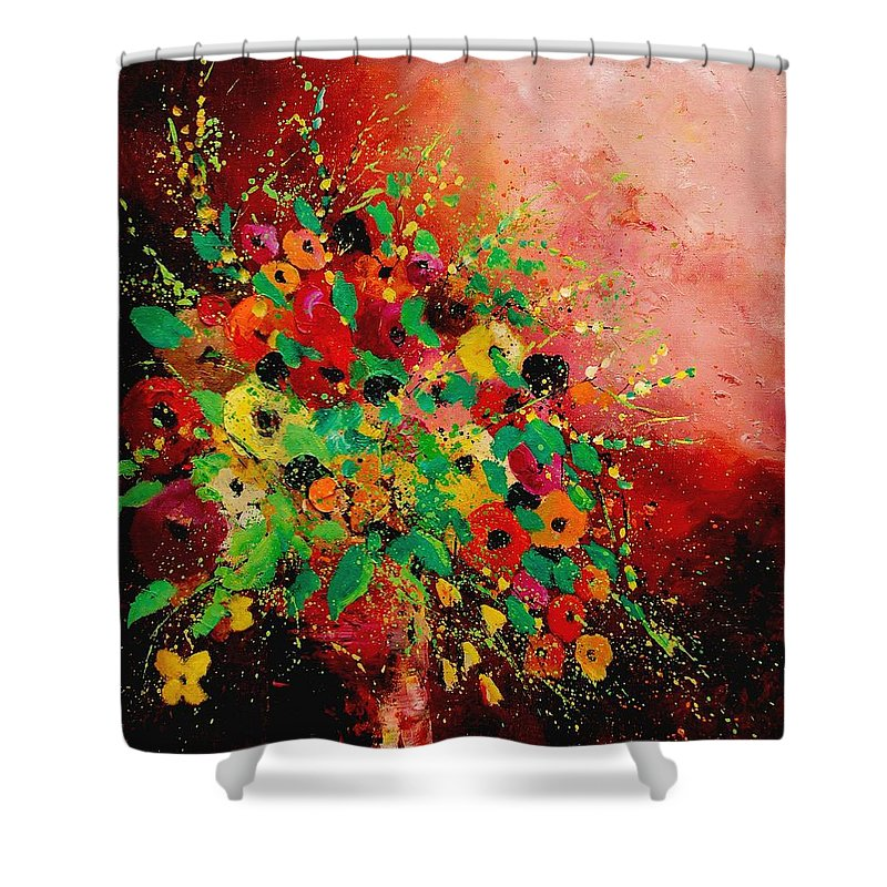 Flowers Shower Curtain featuring the painting Bunch Of Flowers 0507 by Pol Ledent