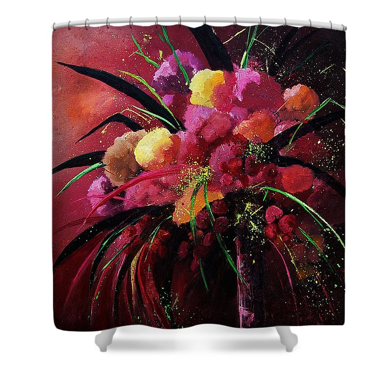 Flowers Shower Curtain featuring the painting Bunch Of Red Flowers by Pol Ledent