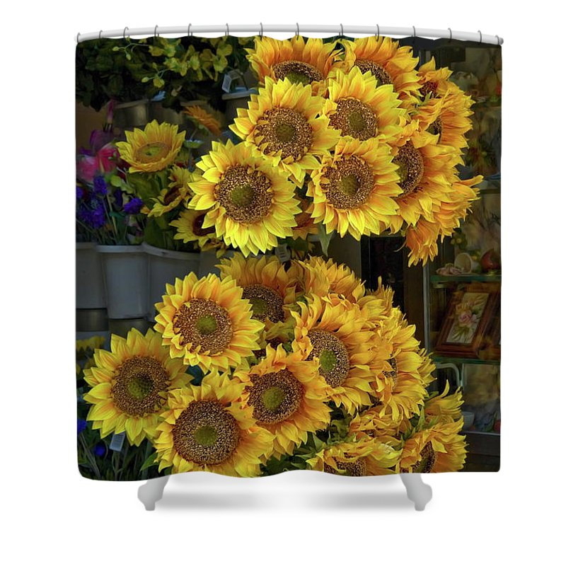 Sunflowers Shower Curtain featuring the photograph Bunches Of Sunflowers by Sally Weigand