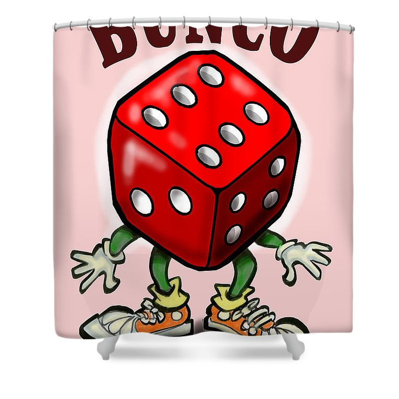 Bunco Shower Curtain featuring the greeting card Bunco by Kevin Middleton