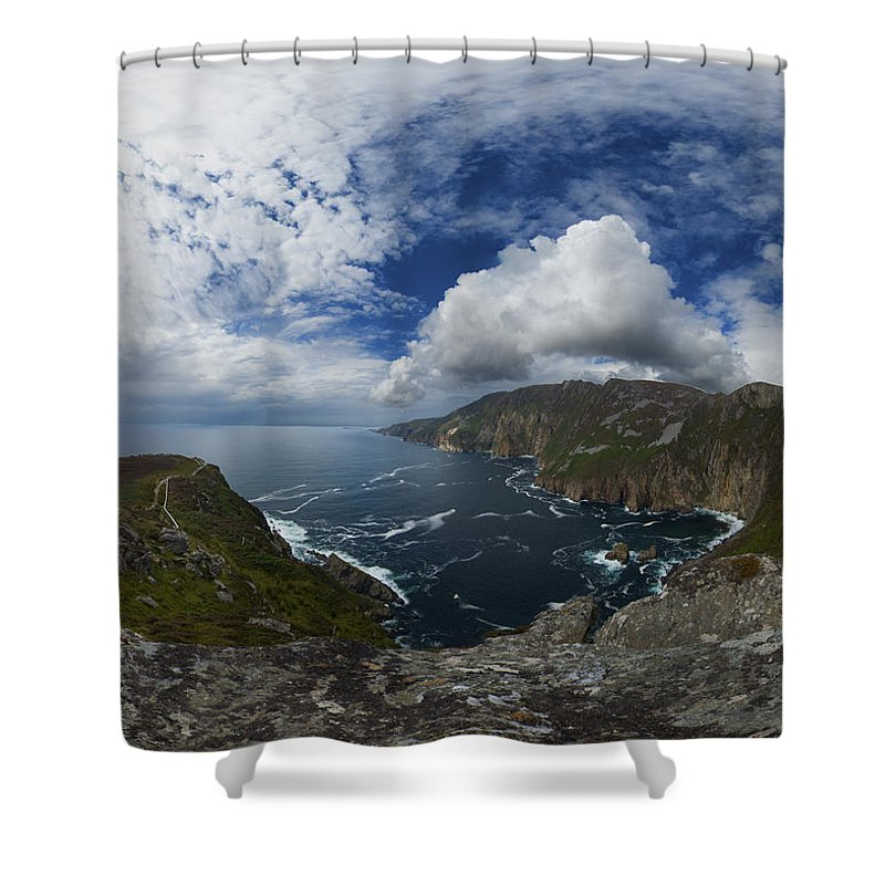 Donegal Shower Curtain featuring the photograph Bunglas Highest Sea Cliffs In Europe by George Row