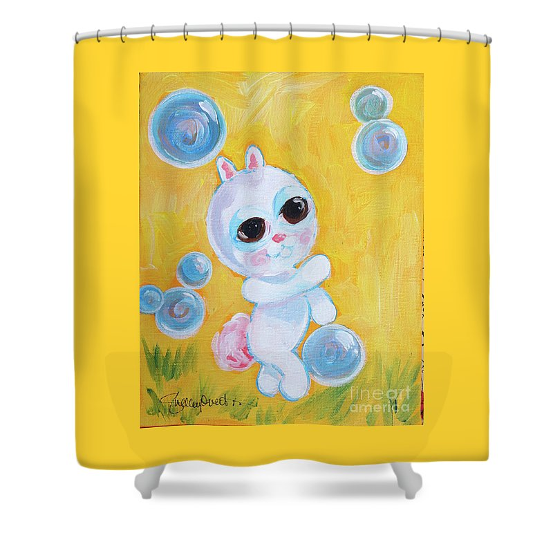 Bunny And The Bubbles Painting For Children Shower Curtain Sale By Shelley Overton