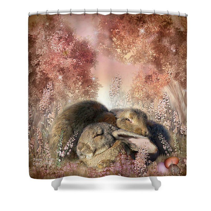 Bunny Art Shower Curtain featuring the mixed media Bunny Dreams by Carol Cavalaris