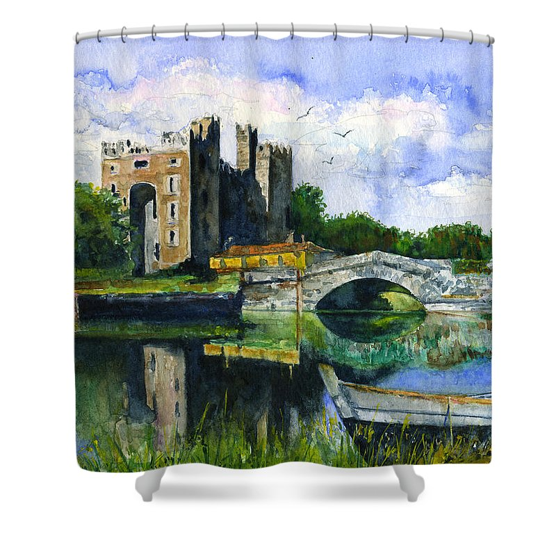 Bunratty Shower Curtain featuring the painting Bunratty Castle by John D Benson