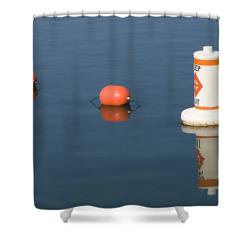 Chicago Windy City Buoy Water Lake Michigan Blue Reflection Mirror Orange Shower Curtain featuring the photograph Buoy by Andrei Shliakhau